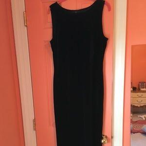 Carole Little Fitted Black Velvet Column dress 16